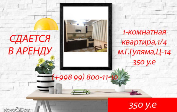 Снять в аренду 1-комнатную квартиру на м.Гафура Гуляма Ц-14