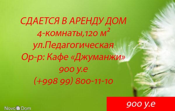 Снять в аренду дом 4-комнаты на ул.Педагогической в Ташкенте